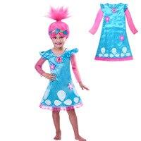 Trolls Girls Dress Child Costumes Christmas Costumes For Girls Net Yarn Sleeve Teenage Girls Clothing Dresses
