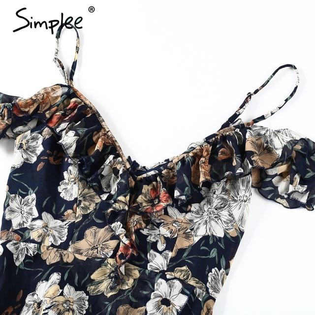 Simplee Vintage boho beach summer dress women Ruffle flower print sexy  long dress Split chiffon maxi dress vestidos sundress
