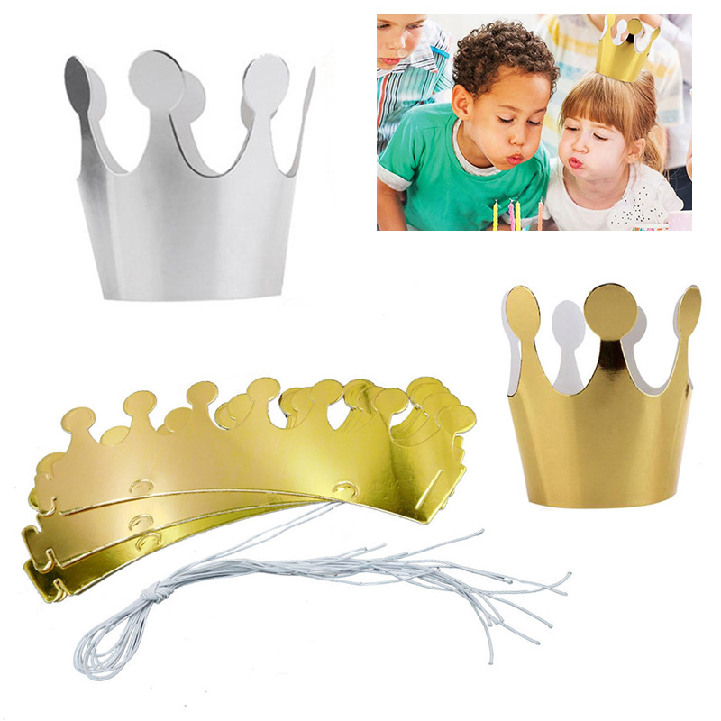 10Pcs Gold Silver Birthday Cap Paper Kids Happy Birthday Paper Hats Princess Crown Party Decoration Festive Party Supplies