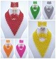 Preciosa de Cristal Collar de La Boda Africana de Nigeria Coral Perlas de La Joyería Nupcial Fija El Envío Libre ALS020