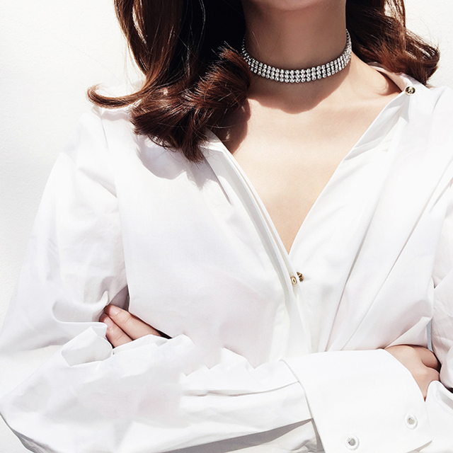 95e3eddc10 US $3.27 25% OFF|Aliexpress.com : Buy LWONG New Sparkly Crystal Rhinestone  Chokers Chocker Necklace for Women Thin Silver Rhinestone Choker Necklaces  ...