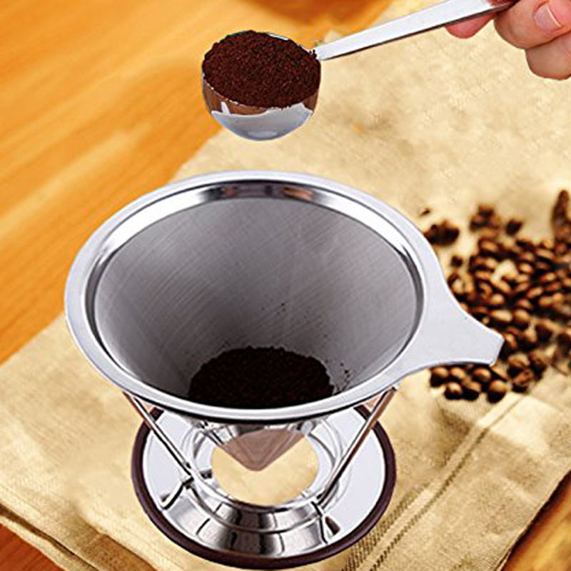 New Stainless Steel Coffee Filter Baskets Cone Reusable Coffee