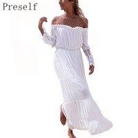 Preself 2017 Women Dress Casual Strapless Lace Long Sleeve White Dress