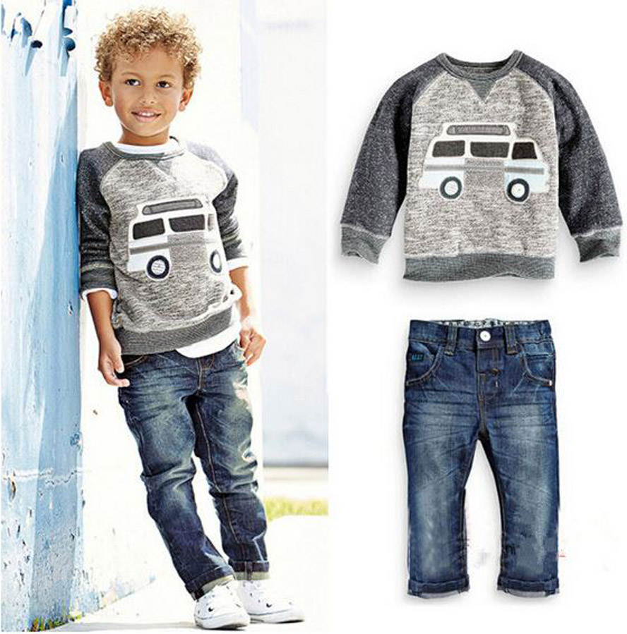 children set boys suit autumn winter ropa mujer spiderman BUS model children clothing boys jeans sets
