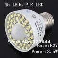 free shipping 85--265V 45pcs LEDs  Motion Sensor LED Light 450lm PIR Auto  Lamp 4psc/lot