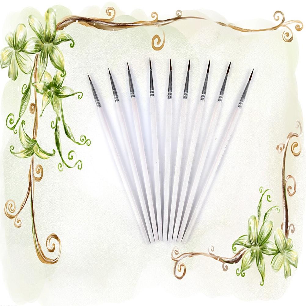 10Pcs White Fine Hand-painted Thin Hook Line Pen Paint Brush Drawing Art Pens