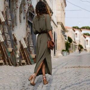 Image 2 - 新ホットファッションボタンロングドレスエレガントな女性のドレスカジュアル作業服プラスサイズポケットスリム女性ロングスリーブ