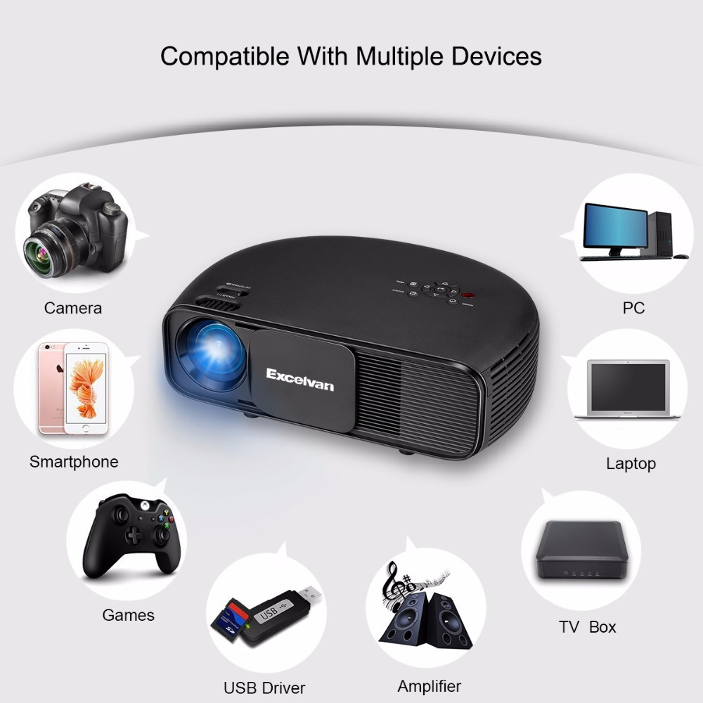 Excelvan Cl720 Full Hd Home Theater Projector 3000 Lumen: Excelvan CL760 Updated CL720 HD LCD Projector 3200 Lumen