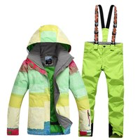 Gsou snow ski suit, women's suit, ski suit, Rainbow Series