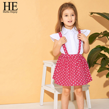 HE Hello Enjoy Kids Clothes Girls Clothing Sets Solid T-shirt+Suspender Skirt Princess Outfits Little Summer Set