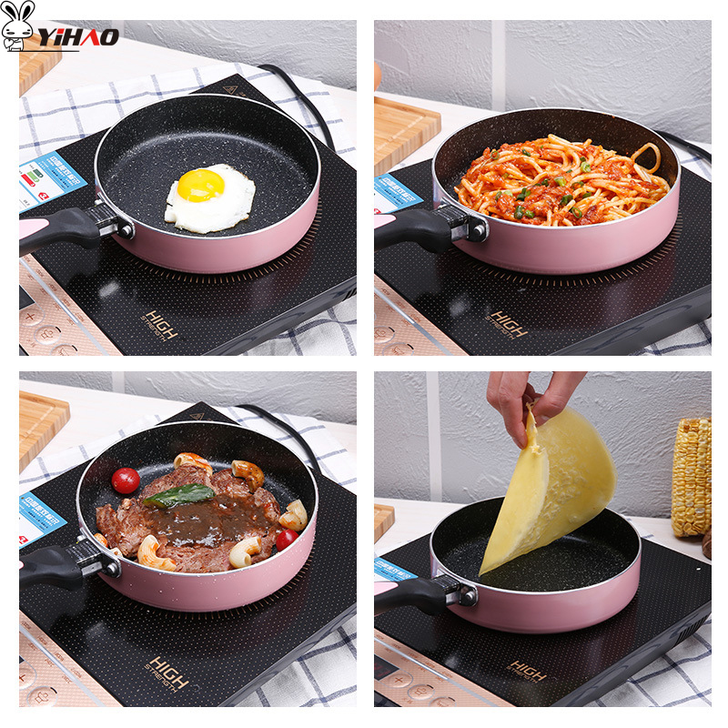 YiHAO שאינו מקל בטוח 16 cm 18 cm 20 cm נחושת מחבת עם ציפוי קרמי אינדוקציה בישול, תנור ומדיח כלים