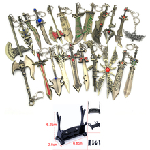 LOL Game Weapon Keychain Knife Holder Action Figures Anime Toys Pendent Garen Leona Xin Zhao Riven Keyring Toy For Children Gift sailor moon anime keychain keyring action figures characters toys 6pcs anime