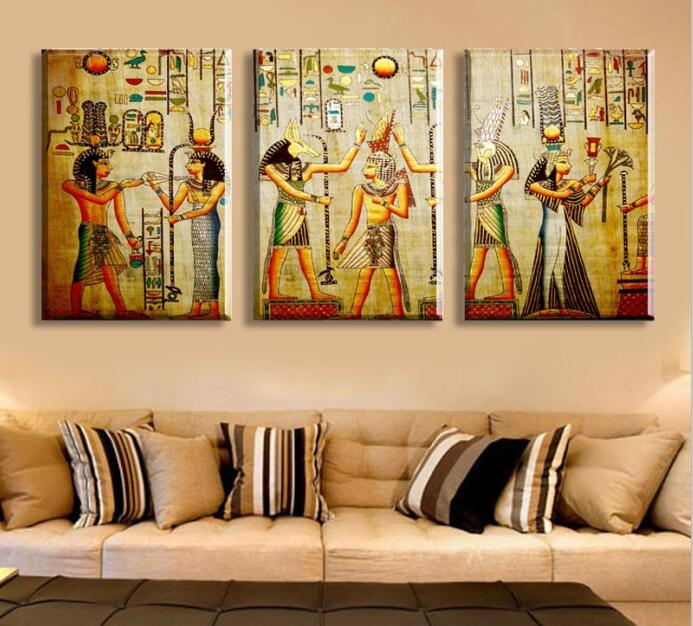 Painted Modern Abstract Oil Painting On Canvas Egyptian Pharaoh Portrait  Wall Art For Living Room Decor Gift Picture