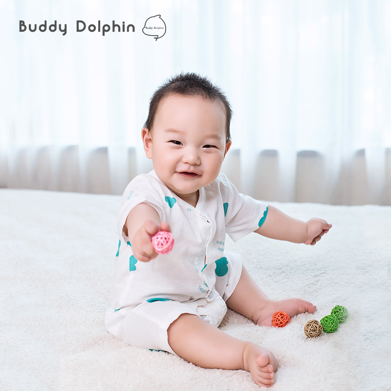Baby Rompers Infant Baby Cotton Gauze Short Sleeves Body Suit Boy Girls Open Crotch Pants One-Piece Muslin Jumpsuit For 0-1Year.