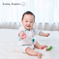 Bebek Rompers Bebek Bebek Pamuk Gazlı Bez Kısa Kollu Vücut Takım Çocuk Kız Açık Crotch Pantolon Tek Parça Muslin Tulum 0-1Year için.