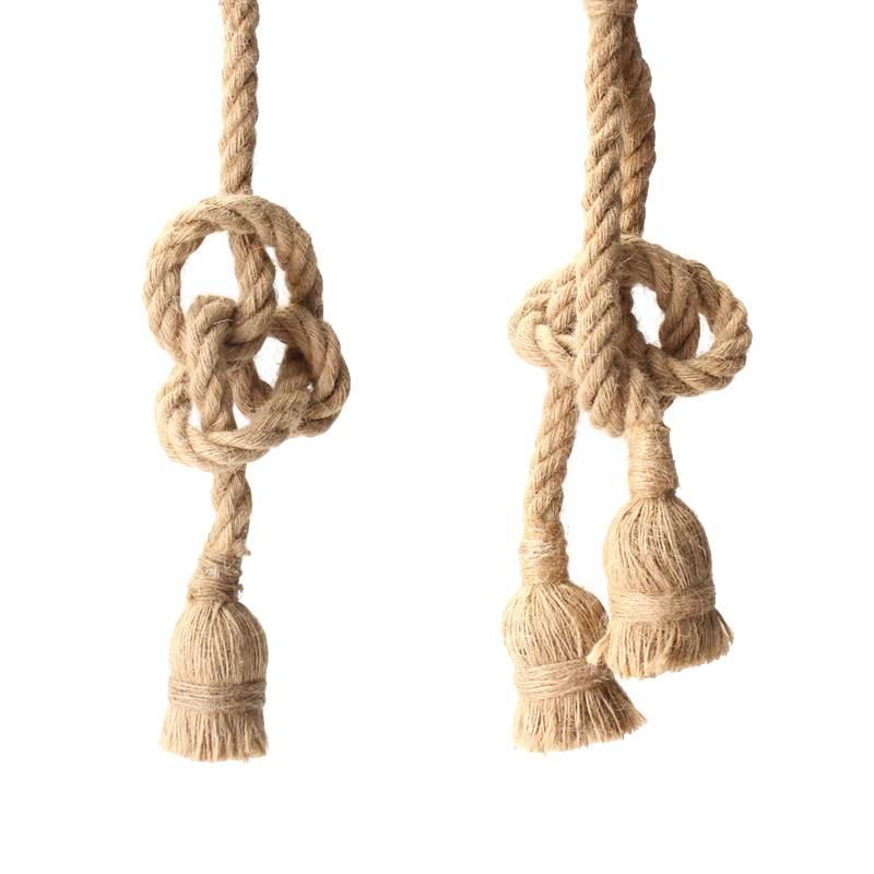 Retro Vintage Rope Pendant Light Lamp Loft Industrial Single/Double Head E27 Pendant Lamp Edison Bulb For Living Room
