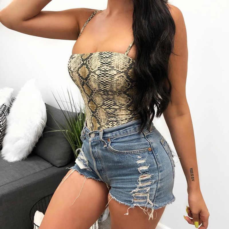 InstaHot Спагетти ремень Женское боди без рукавов Змеиный сексуальный обтягивающий открытая спина облегающий костюм 2019 весна лето тело леди