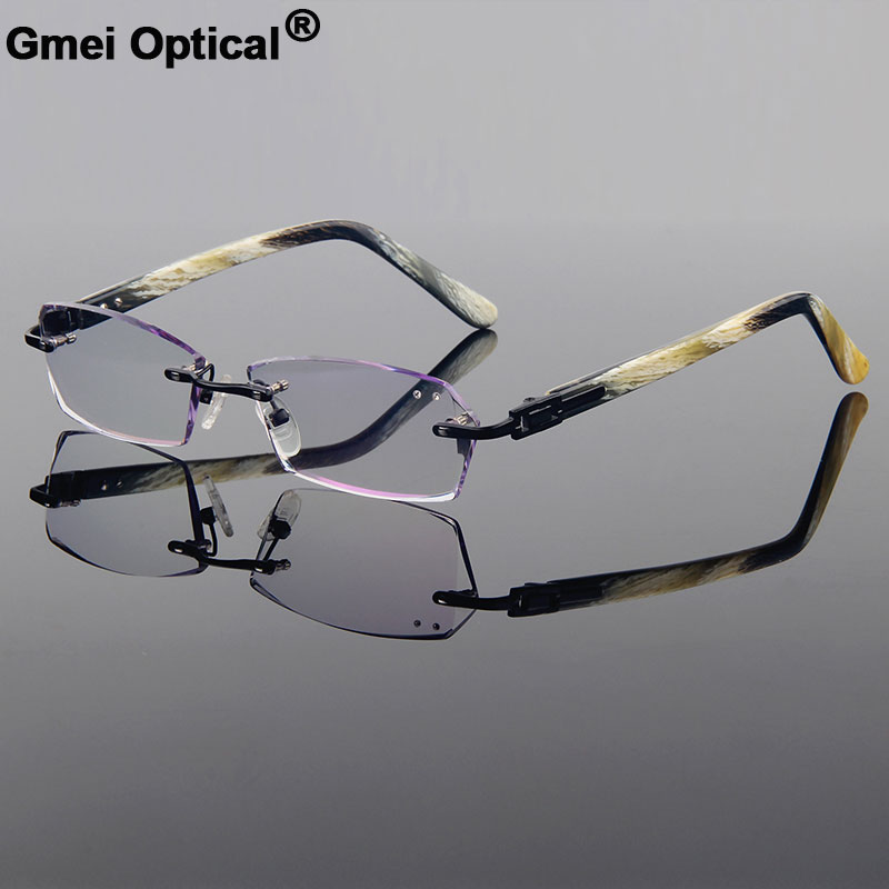 148a591f16f Cool Phantom Titanium Alloy Optical Frame Diamond Trimming Cut Rimless  Spectacles With Gradient Tint Lenses Unisex Style Frame-in Eyewear Frames  from ...