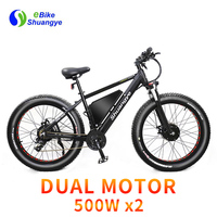 New 48V 500W dual motor dual battery fat tire beach snow electric bike