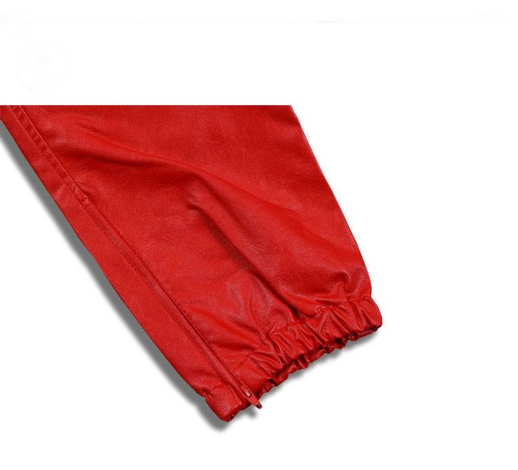 PU Leather Pants Men Elastic Waist Plus Size Side Zipper Hip Hop Leather Trousers Fashion Kanye West Justin Bieber Style Pants (5)