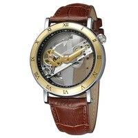 2017 Projekt Złoty Bezel Dwustronnie Przezroczysty Szkielet Skórzany Pas Świetlny Mężczyźni Automatyczne Zegarki Top Marka Luksusowe