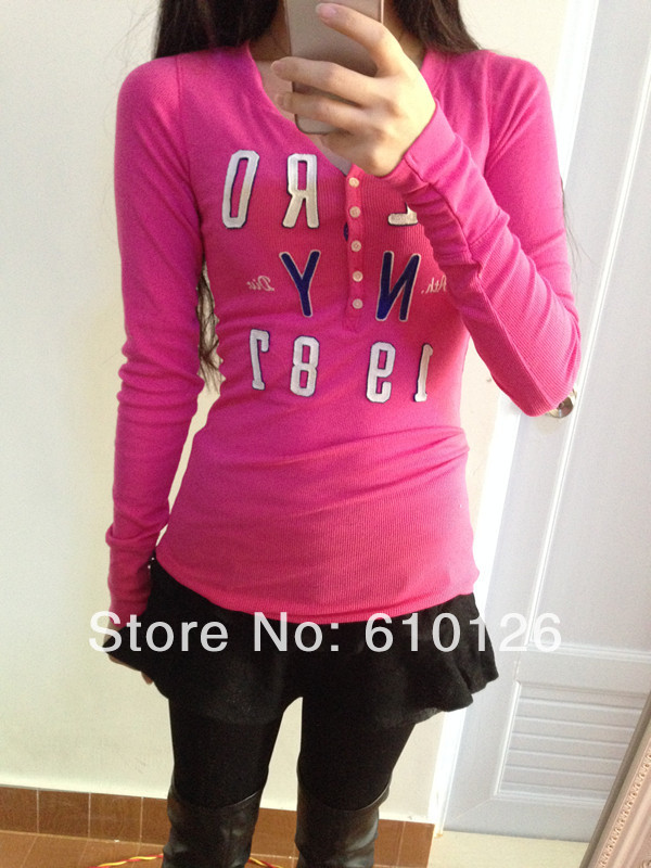 ac5d66f6 2014 FreeShipping NewArrival HotSale High Quality female fashion cotton ' aeropostale' casual O neck Colorful long sleeve t shirt-in T-Shirts from  Women's ...