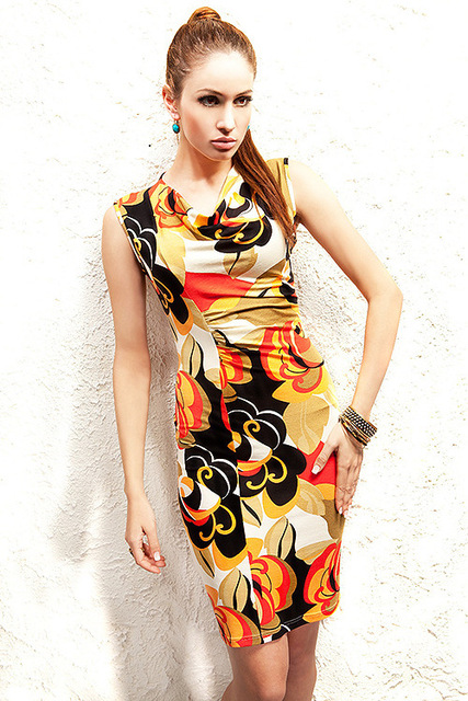 5a84f1e2521 Drop Shipping Beauty Sleeveless Mini Dress Summer Sexy Floral Print Wrapped  Casual Dress Yellow black MN116