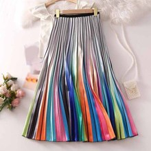 Metallic Silver Multicolor Rainbow Stripe Pleated Skirt Elastic Waist Printed Skirt Women A-Line Skirt a line lemon pattern pleated skirt