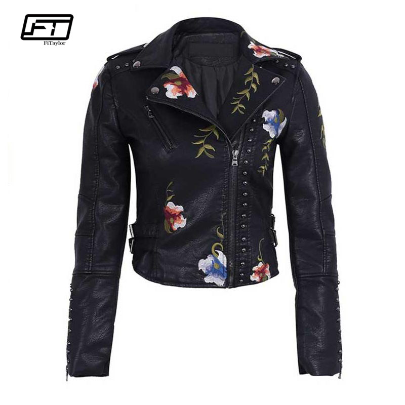 Fitaylor Women Faux Leather Jacket Floral Print Embroidery Pu Motorcycle Coat Turn down Collar Short Black