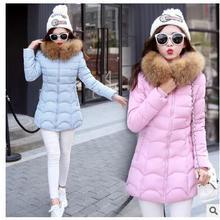 2017 зима новый женский корейской версии тонкий перо хлопка clothing в длинный участок большой воротник воротник куртки хлопка jac