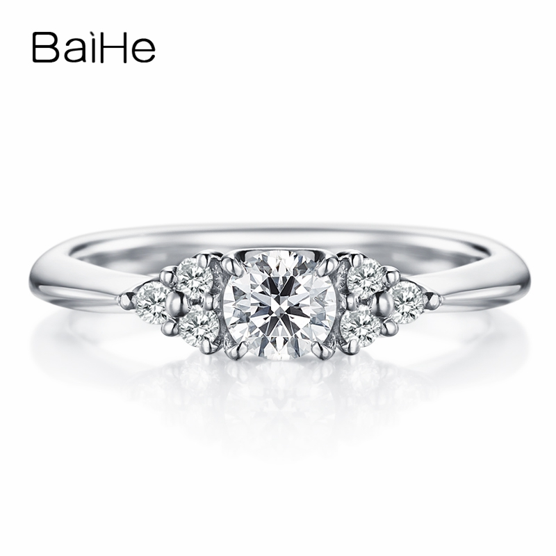 BAIHE Solid 10K White Gold(AU417) Certified 0.25ct Round cut Trendy Moissanite Engagement Wedding Women Gift Fine Jewelry Ring
