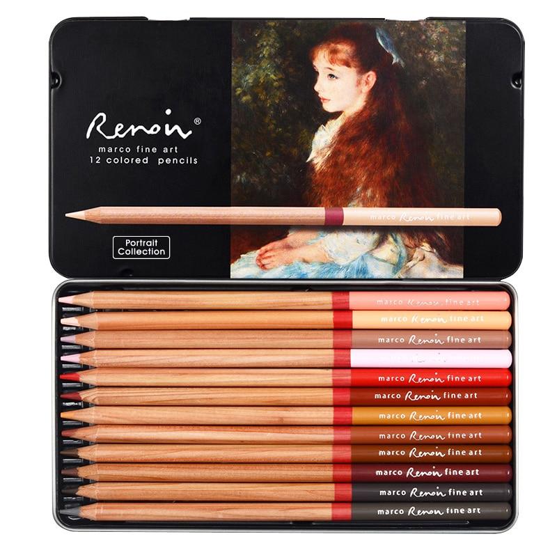 Marco Renoir  12 Colors Plant Figure Plant Landscape Colors Pencil Hand-painted Oily Crayons Professional Drawing Color Pencils
