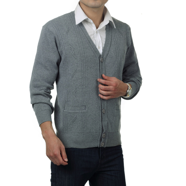 WAEOLSA Men Wool Cardiagn Sweaters V-neck Knitted Tops Mans Woollen Blend Knitwear Dark Gray Cardigan Sweater Father Wear Spring