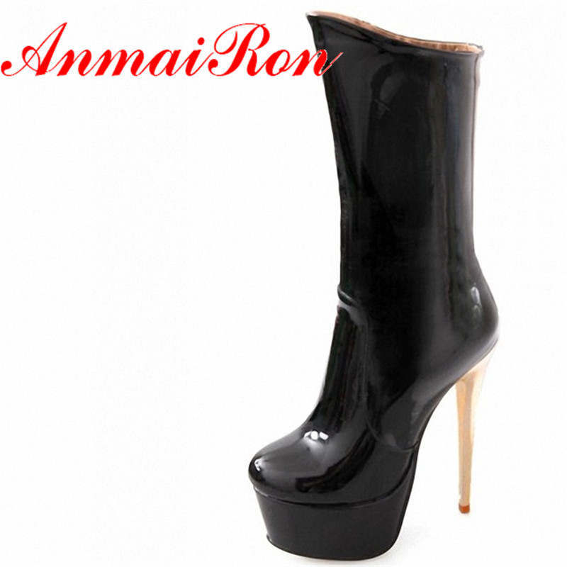 ANMAIRON New Design Winter Sexy Stiletto High Heels Boots16cm Patent Leather Round Toe Platform Boots Mid-Calf Knight Boots