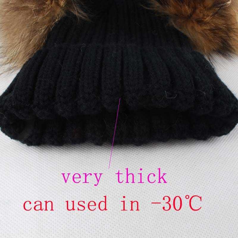 Espessa Malha Chapéus de Inverno Quente Para Crianças Idade 3-10 Dupla Pompom Chapéu Gorro De Algodão Do Bebê Chapéu Do Inverno Da Pele pom Pom Chapéus Para Crianças