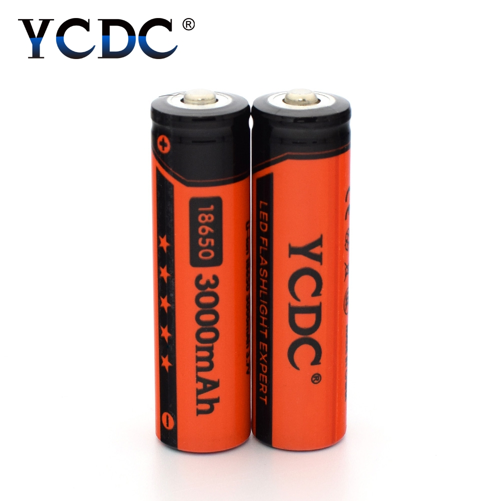 YCDC 2pcs 3.7 v Li-ion 18650 3000mAh Lithium Charging Battery for Rechargeable Batteries 3.7V Power Bank Flashlight Whit case