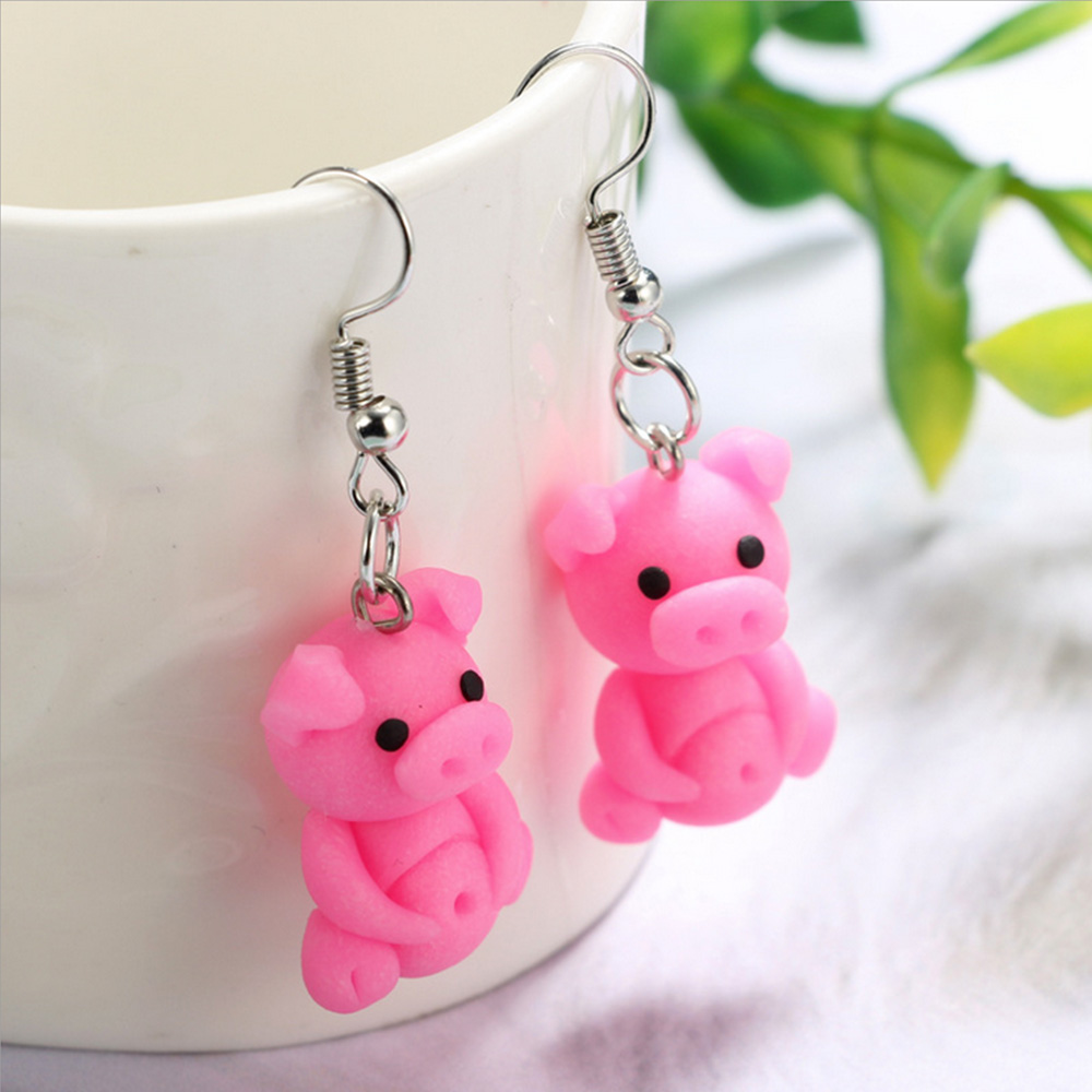 2019 Polymer Clay Soft Cute Sharpei Pug Dog Cat avatar Small pink pig Earrings Cartoon Animal Piercing Ear Stud Ear Jewelry