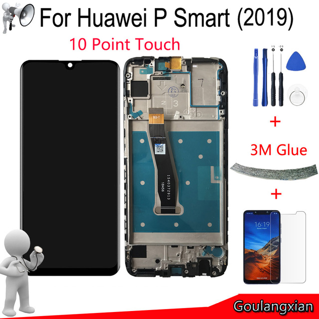 """6.21 """"Aaa Originele Met Frame Voor Huawei P Smart 2019 Lcd Touch Screen Digitizer Vergadering Voor P Smart 2019 Reparatie Deel"""