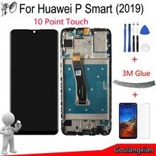 """6.21 """"aaa original com moldura para huawei p smart 2019, display lcd touch screen digitalizador peça para p smart 2019 peça de reparo"""