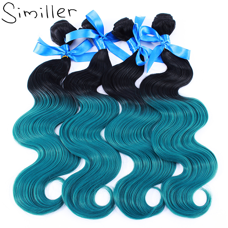 Similler 100g 4 pcs lot Body Wave Synthetic Hair Weft Weaving Ombre Color High Temperature Fiber