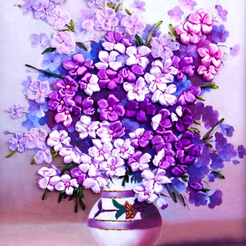 60X50 cm Đẹp flowers vase New hot vá 3d cross stitch bộ Chưa Hoàn Thành Ribbon tranh thêu Nhà thời trang trang trí nội thất