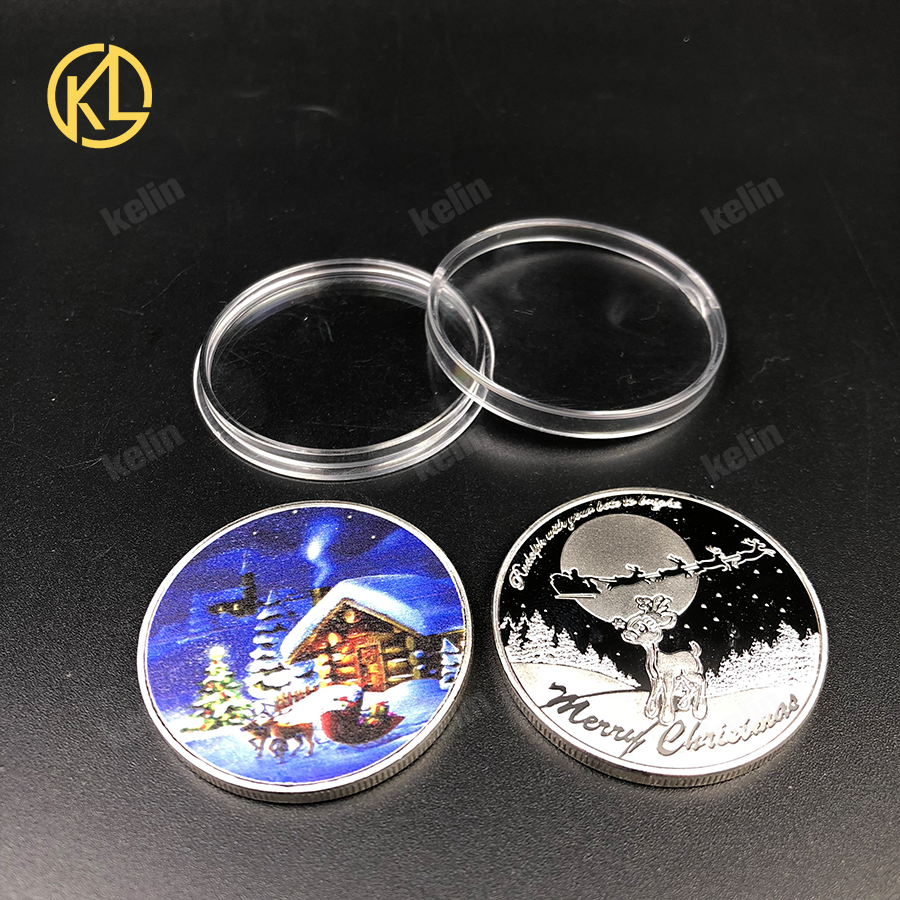 Santa Claus Gift Coin 999.9 Silver Plated Souvenir Coins for Christmas Gifts