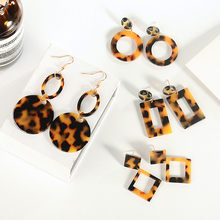 Fashion 1Pair Round Brown Personality Leopard Earring for women Acetate Acrylic Geometric earrings statement Valentines Gift