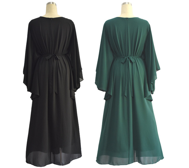 Muslim Chiffon Embroidery long dress for Women Malaysia abayas in Dubai Turkish clothing high quality slim waist