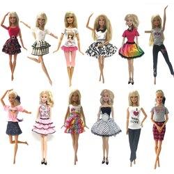 NK 6 Pcs Roupa Da Boneca Da Forma Vestido Curto Bonito Dos Desenhos Animados Padrão Outfit Para Barbie Doll Acessórios Baby Girl DIY Brinquedos JJ DZ