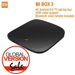 Глобальная версия Xiaomi Mi tv Box 3 Android 8,0 4K 8GB HD WiFi Bluetooth многоязычный Youtube DTS Dolby IP tv Smart медиаплеер