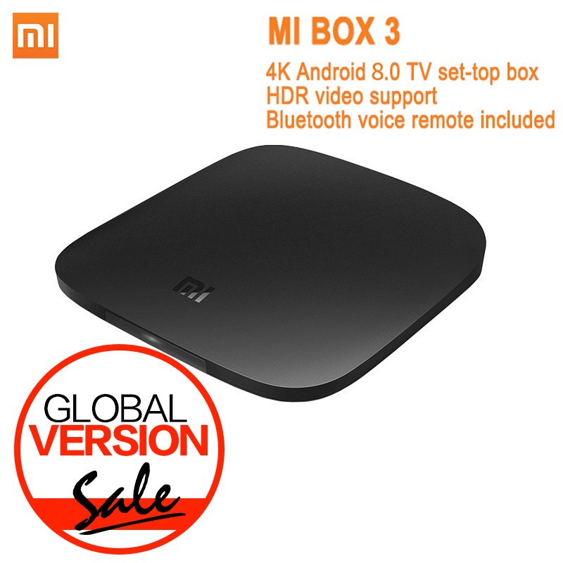 Versi Global Xiaomi Mi TV Box 3 Android 8.0 4K 8GB HD WiFi Bluetooth Multi-bahasa Youtube DTS Dolby IPTV Smart Media Player