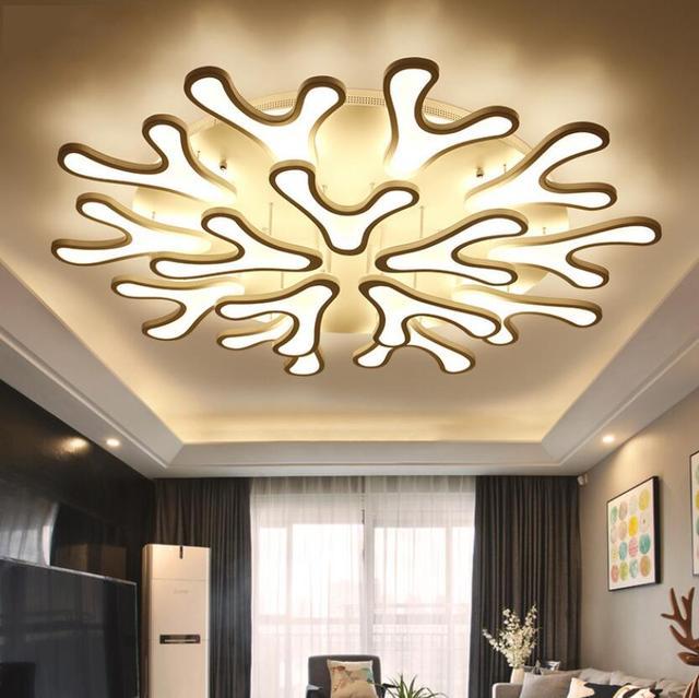 New Modern Led Deer Antler Acrylic Ceiling Lamp Pendant Lighting Bedroom Living Room Flush Mount