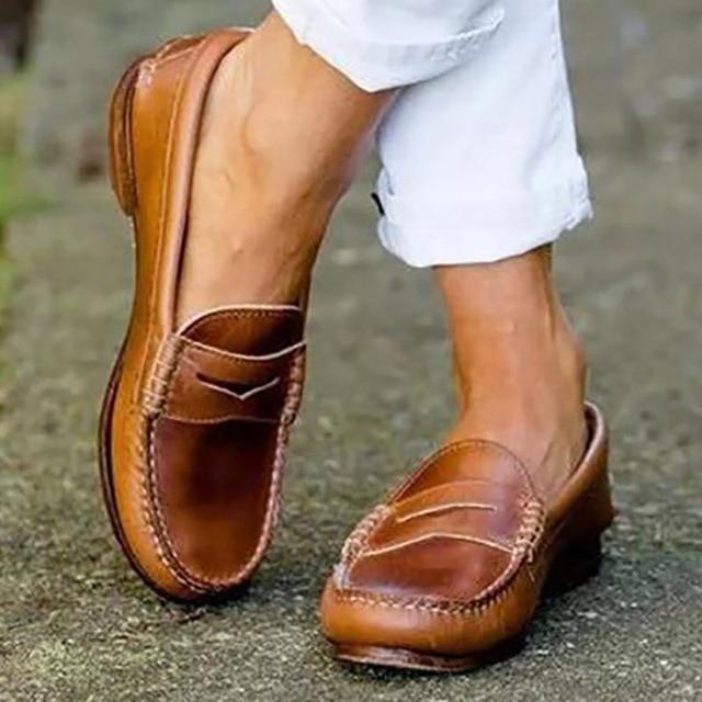 Retro Women Flats Spring Women Shoes Leather Shoes Comfort Walking Shoes Women Loafers Moccasins 2019 Ladies Shoes Plus Size 43