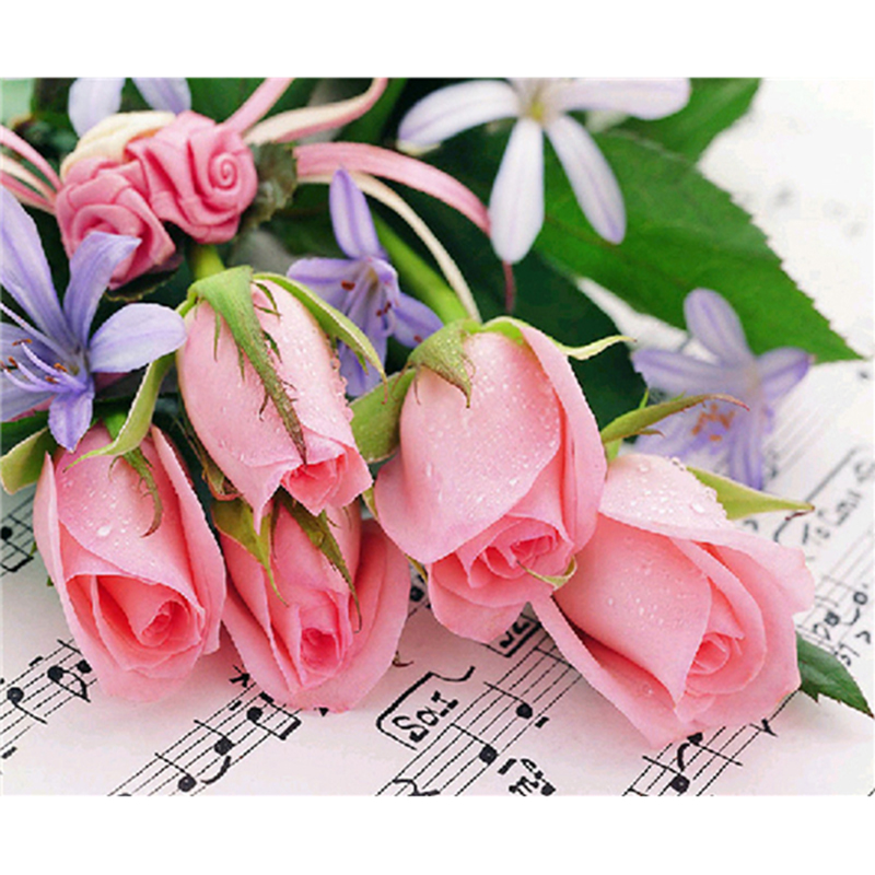 Actually home DIY Diamond Painting Crystal Diamond Cross Stitch Embroidery Flower music rose Square Drill 100% Full! Home Decor pattern A5081R